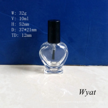 10ml Heart Design Glass Nail Polish Bottle for Cosmetics Empty Nail Bottle