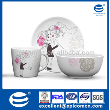 wholesale fashion design 3 pieces porcelain gift breakfast set for lovers