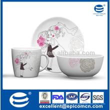 Design de moda por atacado 3 peças porcelana presente pequeno-almoço definido para os amantes