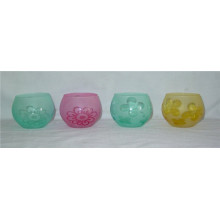 Ball-Shaped Colorful Frost Glass Candlestick Holder