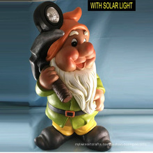 Dwarf with Hammer Solar Light Polresin Garden Decoration