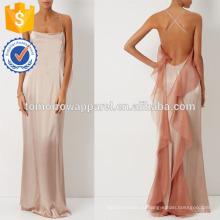 Новая мода атласная вечернее платье с приглушенно-розовый оборками платье Производство Оптовая продажа женской одежды (TA5279D)