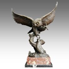 Animal en laiton statue hibou décoration sculpture en bronze Tpal-202