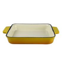 Prato retangular profundo do cozimento do ferro fundido do prato