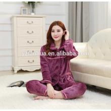 Elegant Purple Fleece Warm Missy's Home Wear suit wholesale
