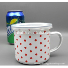 straight body enamel mug & milk enamel mug with lid