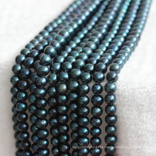 12-15mm AA+ Large Nearly Round Black Freshwater Pearl Strands E180007