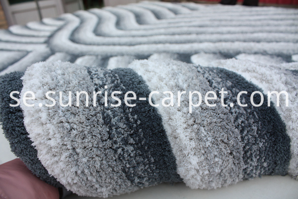 Microfiber Shaggy 3D carpet Grey color