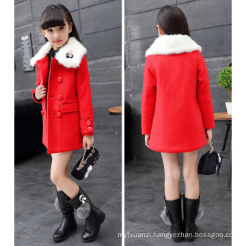 white fur collar girls coats winter jackets double-breasted children winter garments new year celebrating party jackets hot sale