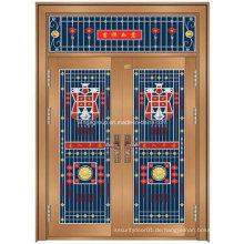China Stil Beliebte Eingang Sicherheit Stahl Metall Kupfer Tür (W-GB-16)