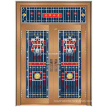 China Style Popular Entrance Security Steel Metal Copper Door (W-GB-16)