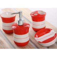 4 PC Of Dotted Ceramic Bath Set