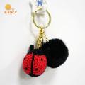 Crochet Ladybug Key Chain With Plush Pom Pom