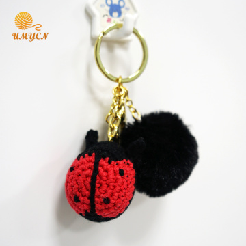 Crochet Ladybug Key Chain With Plush Pom Pom