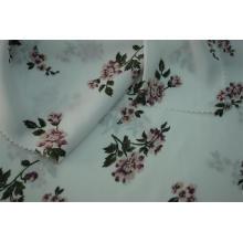 Tissu 100% polyester imprimé de fleurs en satin martelé