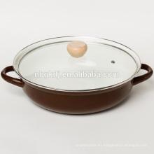 esmalte olla caliente en cuerpo de color con tapa de vidrio y perilla de madera