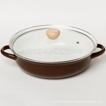 Emaille Hot Pot in Farbe Körper mit Glasdeckel und Holzknopf