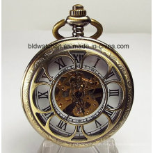 Flower Shaped Cutout Cover Personalized Mechanical Pocket Watch