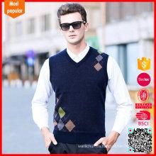 2017 El último diseño hizo punto el chaleco corto de las lanas del cordero de los hombres del suéter de las mangas