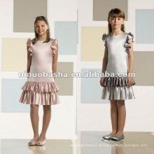 Charmeuse vestido de menina de flor com joelho
