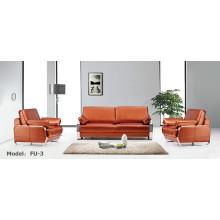 Moderne Büromöbel Leder Metall Sektionale Ecke Empfangs Sofa (FU-3)
