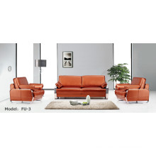 Modern Office Furniture Leather Metal Sectional Corner Receptional Sofa (FU-3)