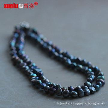 Duplo preto barroco colar de pérolas de água doce (e130132)