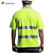 Highway Traffic Workwear camiseta de seguridad reflectante camiseta de malla de alta visibilidad de clase 2 del bolsillo Polo de alta visibilidad de manga corta