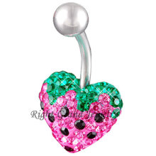 Multi Gem Strawberry 14 Gauge Navel Belly Rings