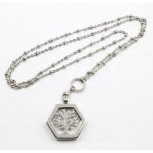 Silber Stainleel Stahl schwimmenden Locket Anhänger mit Leben der Baum Münze Halskette