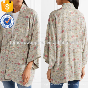 Loose Fit Multicolored Floral-Print Chiffon Long Sleeve V-Neck Jacket Manufacture Wholesale Fashion Women Apparel (TA0012J)