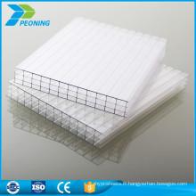 Matériau brut de Bayer panneaux de toit creux en polycarbonate en plastique transparent en plastique transparent