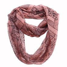 Damenmode Leopard gedruckt Polyester Chiffon Infinity Schal (YKY1113)