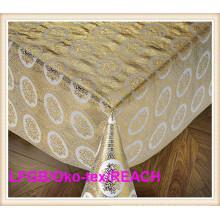 Nappe dorée de dentelle de PVC pour la table de mariage sur la vente chaude de petit pain