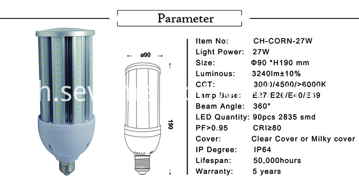 Parameter of LED corn lamp 27 watt