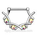 4 Crystal Set Filigran Nippel Piercing 316L Chirurgische Stahl Bar Messing Körper Nippel Bar Clicker Ring