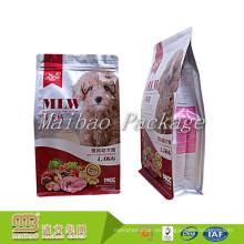 Personalizado Impreso fuerte sellado a prueba de humedad Plástico Cremallera Zip inferior plano Bolsa de alimentos para mascotas