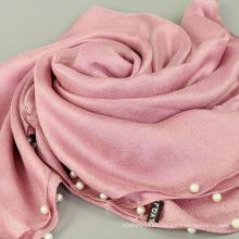 Nueva tendencia de alta moda mantón musulmán modesto pañuelo de algodón holandés perlas de lino con cuentas bufanda