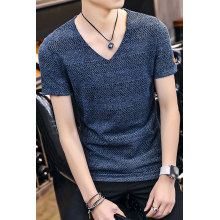 Rib Neck Short Sleeves Men T Shirt