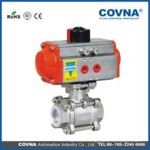 3PCS pneumatic ball valve with actuator with PTFE sealing spring return