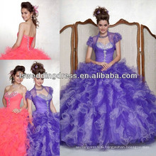HQ2041 Beaded two tone ruffled tulle strapless sleeveless sweetheart neck layers tulle big skirt lavender quinceanera dresses