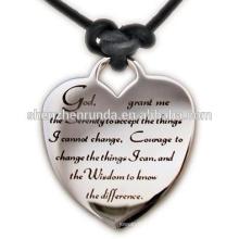 Alta qualidade em aço inoxidável jóias serenidade oração coração colar de couro esperança sabedoria coragem fé