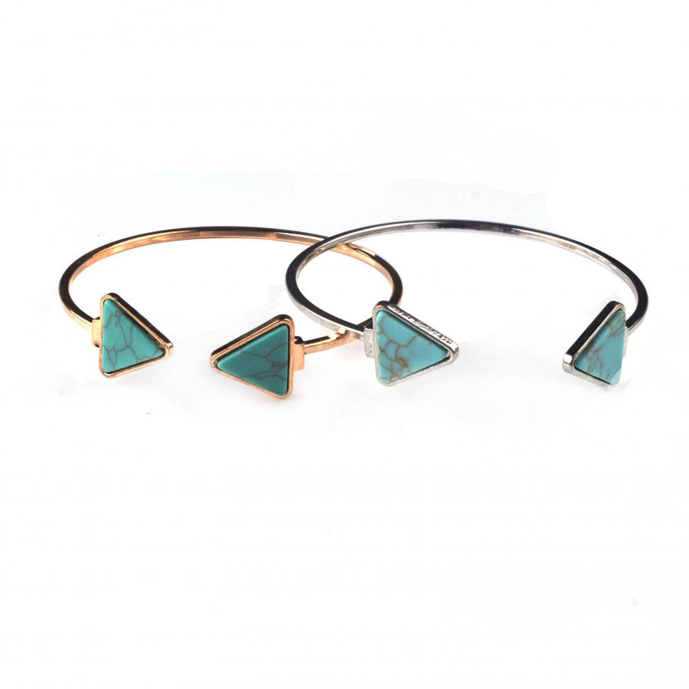 Turquoise Stone Triangle Bangle for Women Accessories