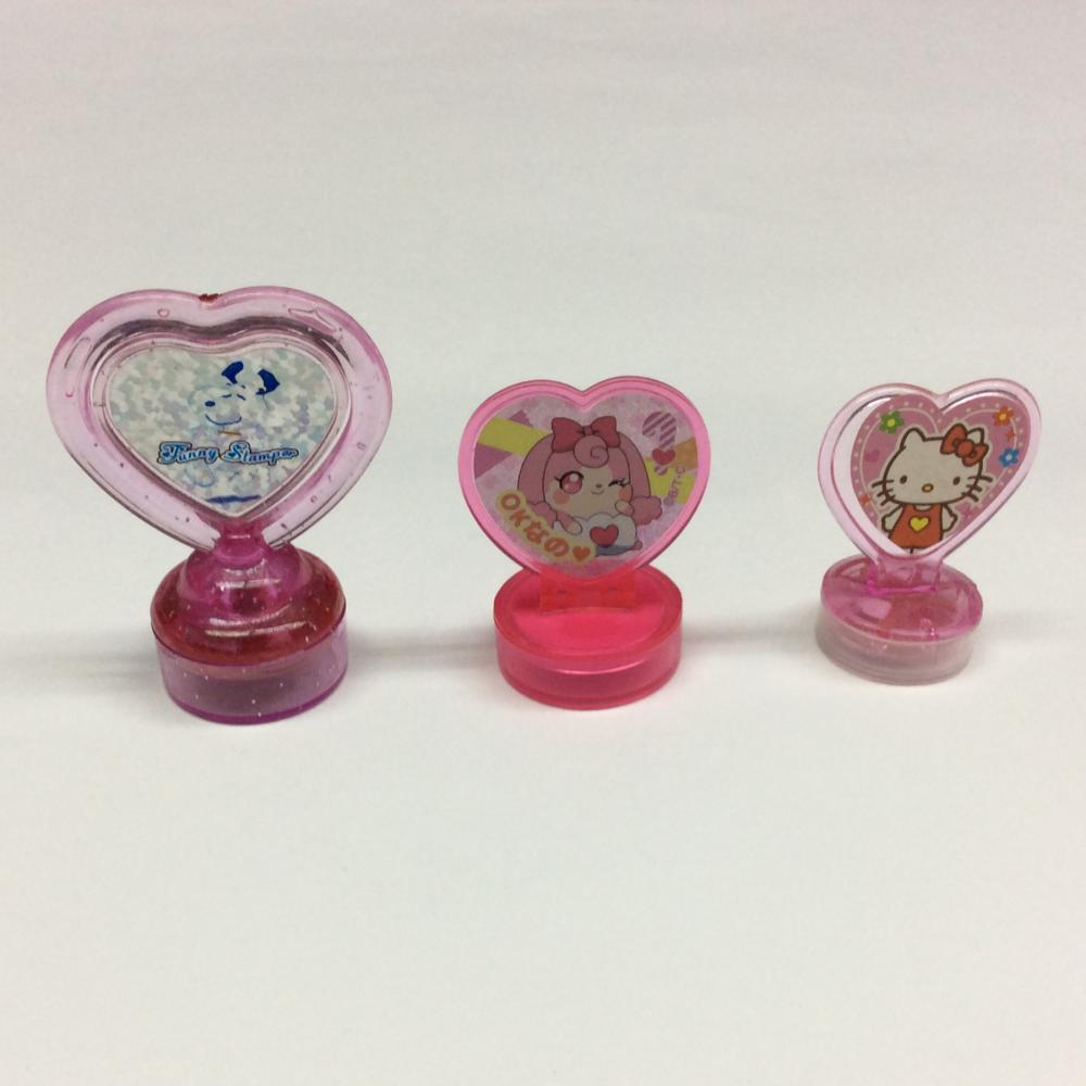 Plastic Cartoon Heart Shaped Handle Stamp