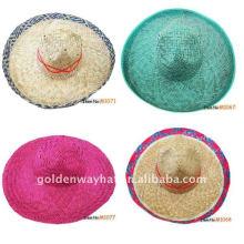 Chapeau de paille de sombrero de plats mexicains sur mesure