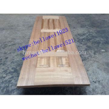 chapa de madera de teca hdf puerta piel