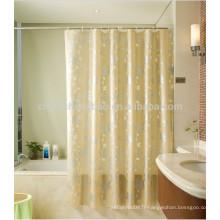 Peva imprimé des rideaux de fenêtre de douche de douche jaune