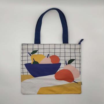 Custom Printed Leather Handle Canvas Bag