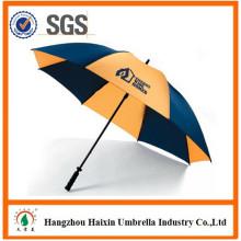 2015 alta calidad barra sólida pongis de fibra de vidrio promocional Golf recta fábrica del paraguas