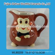 Jarra de leche de cerámica con diseño de mono